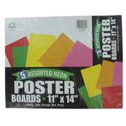 Norcom Inc 11 in. x 14 in. Neon Poster Boards Assorted Colors 5 Count Pack Of 12 (JNSN69603)