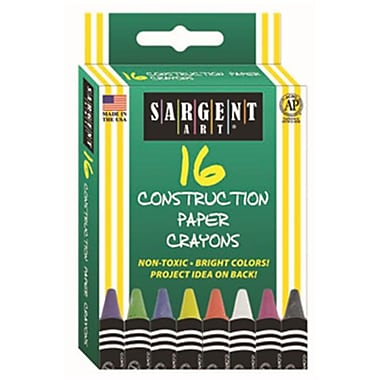 16Ct Construction Paper Crayon Standard Size Peggable Box (RTl146740)
