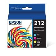 Epson T212 Black/Cyan/Magenta/Yellow Standard Yield Ink Cartridge, 4/Pack