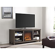 """Ameriwood Home Edgewood TV Console with Fireplace, Weathered Oak, For TVs up to 60"""" (1819096COM)"""