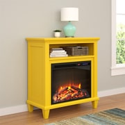 "Altra Ellington Electric Fireplace Accent Table TV Stand for TVs up to 32"", Yellow (5032496COM)"