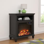 """Altra Ellington Electric Fireplace Accent Table TV Stand for TVs up to 32"""", Black (5032196COM)"""