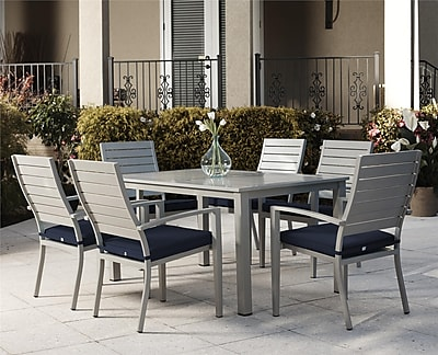 7 Piece Blue Veil Brushed Aluminum Patio Furniture Dining Set with Cushions (88587BGBE)