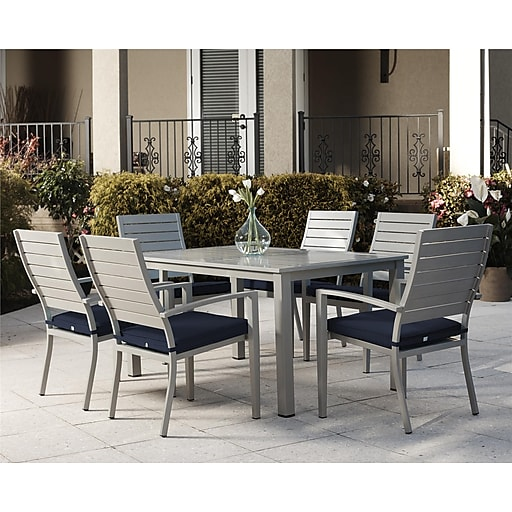 7 Piece Blue Veil Brushed Aluminum Patio Furniture Dining Set With