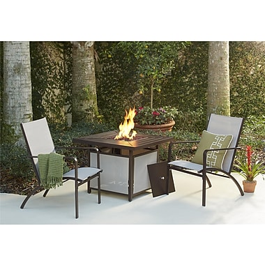 3 Piece Stone Lake Mixed Media Patio Conversation Set with Propane Fire Pit (88652SBTFE)