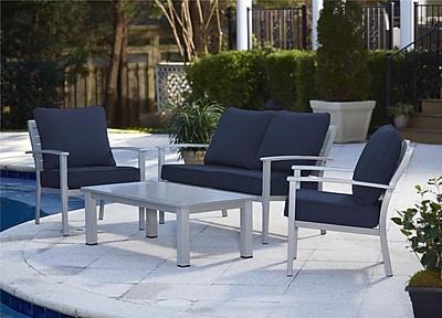 4 Piece Blue Veil Brushed Aluminum Patio Furniture Conversation Set (88580BGBTE)