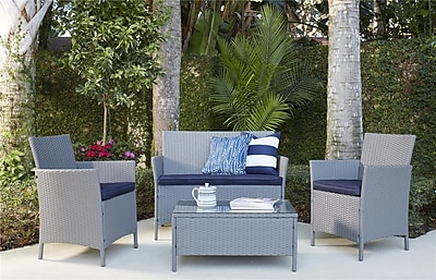 4 Piece Jamaica Resin Wicker Patio Deep Seating Conversation Set (88510GBLE)