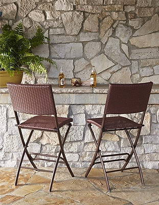 Transitional 2 Pack Delray High Top Folding Patio Bistro Stools (87644DBR2E)
