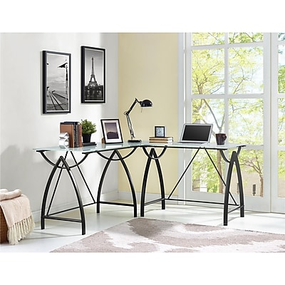 Altra Lacklan Glass Top L Desk, Black (9822196COM)