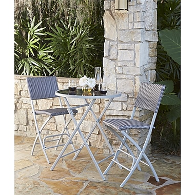 Transitional 3 Piece Delray High Top Folding Patio Bistro Set (87632BGBE)