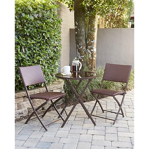 Transitional 3 Piece Delray Dining Height Folding Patio Bistro Set (87631DBRE)