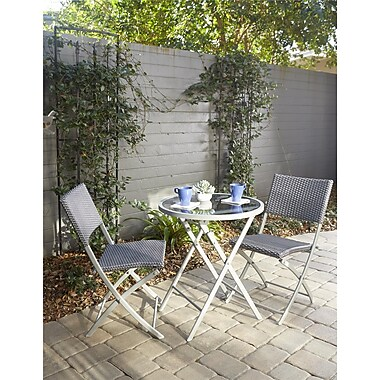 Transitional 3 Piece Delray Dining Height Folding Patio Bistro Set (87631BGBE)