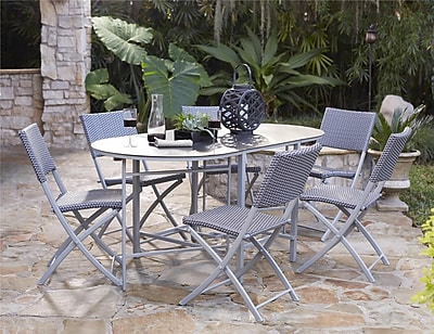 Transitional 7 Piece Delray Compact Folding Patio Dining Set (87637BGBE)