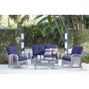 4 Piece Lakewood Ranch Steel Woven Wicker Patio Furniture Conversation Set (88590GBLTE)
