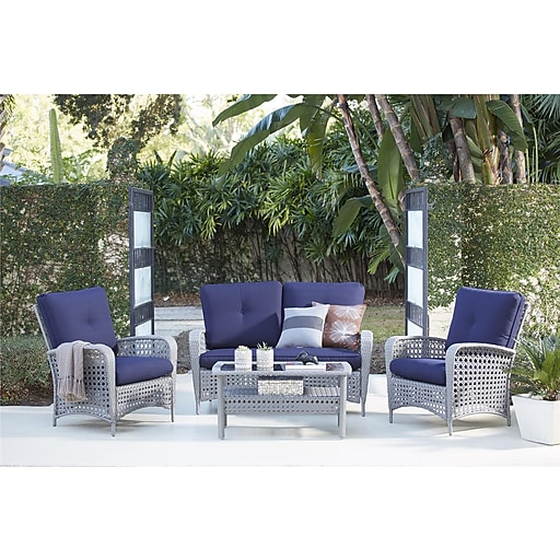 4 Piece Lakewood Ranch Steel Woven Wicker Patio Furniture Conversation Set  (88590GBLTE) - 4 Piece Lakewood Ranch Steel Woven Wicker Patio Furniture