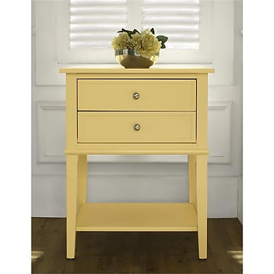 Ameriwood Home Franklin Accent Table with 2 Drawers, Yellow (5062496COM)