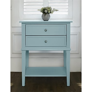 Ameriwood Home Franklin Accent Table with 2 Drawers, Blue (5062396COM)