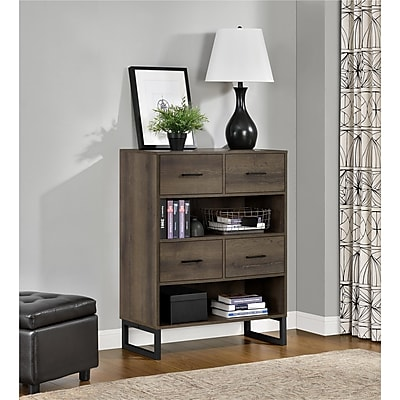 Ameriwood Home Candon Bookcase with Bins, Distressed Brown Oak (9665096COM)