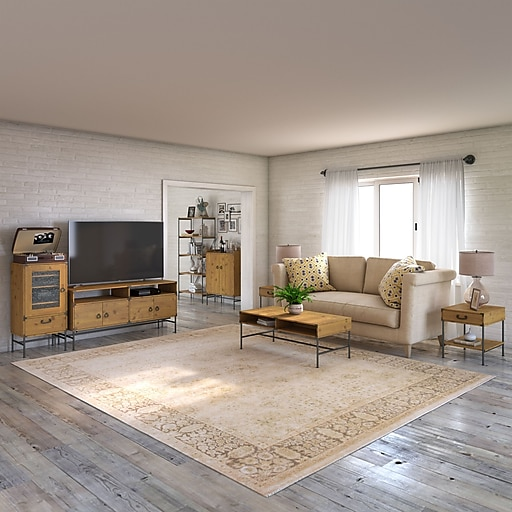 kathy ireland® Home by Bush Furniture Ironworks TV Stand with Audio  Cabinet, Storage and Living Room Tables, Vintage Golden Pine