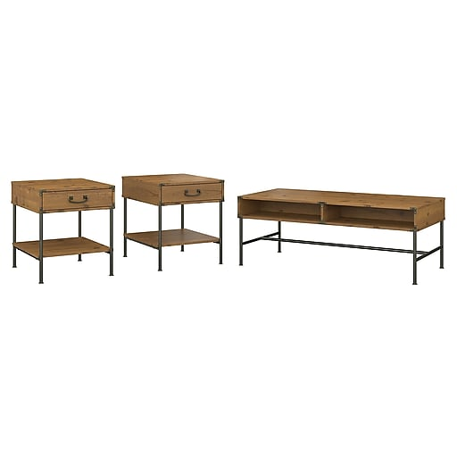 kathy ireland® Home by Bush Furniture Ironworks Coffee Table and Set of 2 End Tables, Vintage Golden Pine (IW019VG)