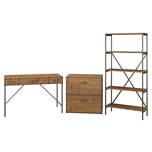 Kathy Ireland Home By Bush Furniture Ironworks 48w Writing Desk With Lateral File And Bookcase Vintage Golden Pine Iw009vg