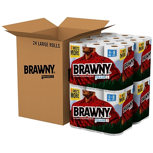 Brawny Pick-A-Size Kitchen Rolls Paper Towels, 2-Ply, 80 Sheets/Roll, 24  Rolls/Carton (44133)