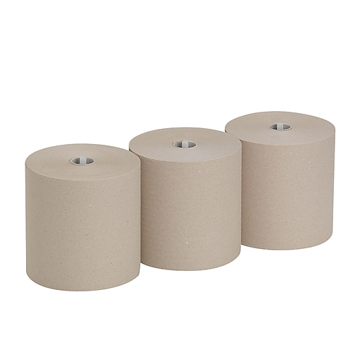 """Pacific Blue Ultra™ 8"""" High-Capacity Recycled Paper Towel Roll by GP PRO, 1-Ply, Brown, 1150'/Roll, 3 Rolls/Carton (26496)"""