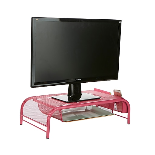Cool Mind Reader Metal Mesh Monitor Stand And Desk Organizer With Drawer Desktop Monitor Stand Organizer Pink Meshmonsta Pnk Home Interior And Landscaping Sapresignezvosmurscom