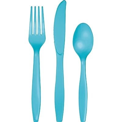 Touch of Color Bermuda Blue Assorted Plastic Cutlery 24 pk (010616)
