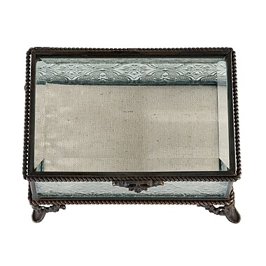 Lillian Rose Rustic Rectangular Glass Ring Box (RA205 B)