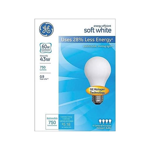GE 43 Watt, 620 Lumen, Soft White Halogen Bulb, 4/Pack (66247)