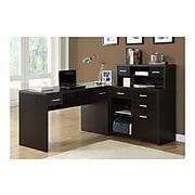 "Monarch Specialties Inc. 63"" Particle Board L-Shaped Desk, Cappuccino (I 7018)"