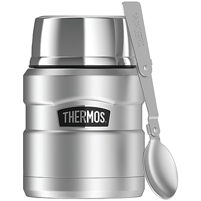 Thermos Sk3000sttri4 Stainless King Vacuum-insulated Food Jar With Folding Spoon, 16oz (silver)