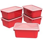 "Storex 5.1""H x 7.8""W Plastic Small Cubby Bin with Lid, Red, 5/CT (62407U05C)"