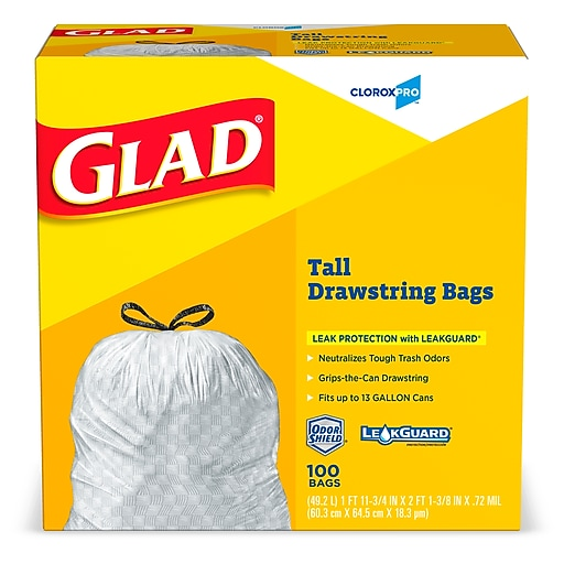 Glad Tall Kitchen Drawstring Trash Bags 13 Gallon 100 Box White Staples