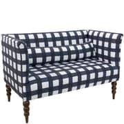 Skyline Furniture Settee in Buffalo Square Blue Oga (4306BFLSQRBLOGA)
