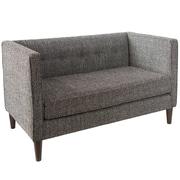 Skyline Furniture Button Tufted Settee in Solitude Pepper (3306SLTPPR)