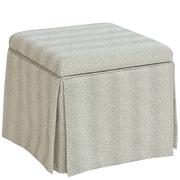 Skyline Furniture Skirted Storage Ottoman in Plaything Pewter (37-2SKPLTPWT)