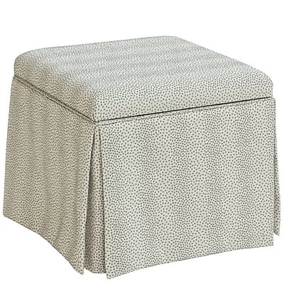 Skyline Furniture Skirted Storage Ottoman in Plaything Pewter (37-2SKPLTPWT)