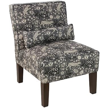 Skyline Furniture Armless Chair in Leopard Texture Charcoal (5705LPRTXTCHR)