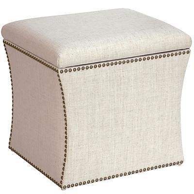 Skyline Furniture Nail Button Storage Ottoman in Linen Talc (49-6NB-BRLNNTLC )