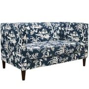 Skyline Furniture Button Tufted Settee in Crystal Lake Midnight (3306CRSLKMDN) by