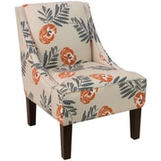 Skyline Furniture Swoop Arm Chair in Mod Floral Orange (72-1MDFLRORNOGA)