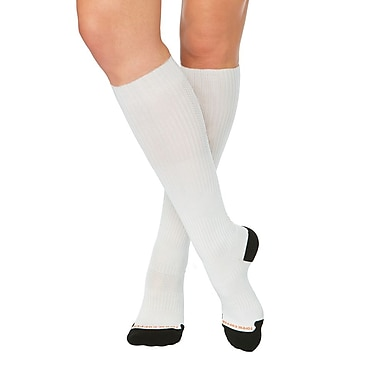 Tommie Copper Women's Lightweight Performance Compression Over The Calf Socks, White w/ Black, 4-6.5 (1732WR)