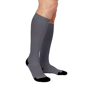 Tommie Copper Men's Lightweight Performance Compression Over The Calf Socks, Slate Grey w/ Black, 12-14.5 (1732MR)