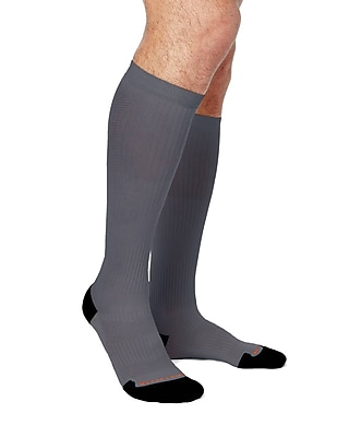Tommie Copper Men's Lightweight Performance Compression Over The Calf Socks, Slate Grey w/ Black, 12-14.5 (1732MR)