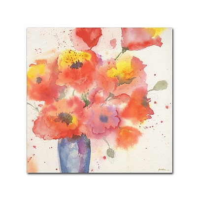Trademark Fine Art Sheila Golden 'Vase of Poppies 5' 14