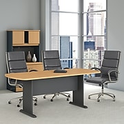 Bush Business Furniture 79W x 34D Racetrack Oval Conference Table, Beech/Graphite Gray (TR14384A)