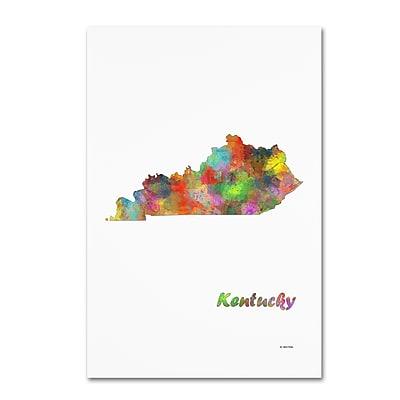 Trademark Fine Art Marlene Watson 'Kentucky State Map-1' 12