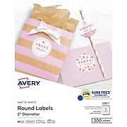 "Avery Laser/Inkjet Permanent Round Labels, 2"" Diameter, Matte White, 300 Labels Per Pack (22877)"